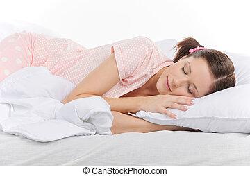 美しい, ティーンエージャーの, dream., 若い, 睡眠, 女, おさげ