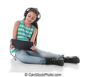 美しい, ティーン前, タブレット, ヘッドホン, コンピュータ, 使うこと, 女の子