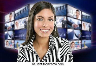 美しい, テレビ, 女, 提出者, indian, ニュース
