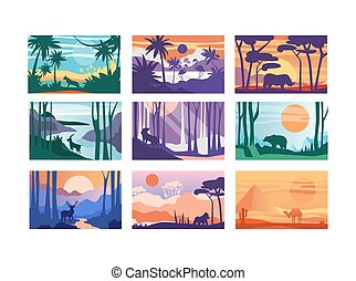 美しい, テンプレート, 別, 動物, 旗, ポスター, 自然, 雑誌, カバー, 現場, イラスト, 日, ベクトル, コレクション, 平和である, 横, 時間, 風景