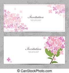 美しい, デザイン, 招待, カード, 花, あなたの