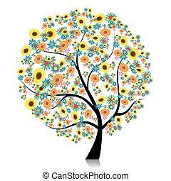 美しい, デザイン, 木, あなたの, 花