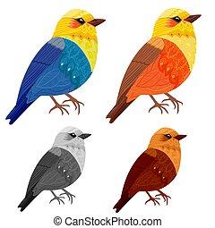 美しい, デザイン, 鳥, コレクション, あなたの