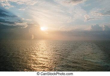 美しい, デッキ, 内陸 海, 巡航客船, 日の出, 光景