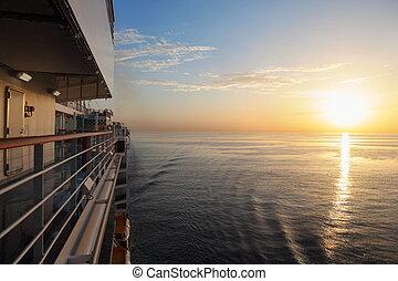美しい, デッキ, 巡航, 朝, ship., 日没, の上, water., 光景