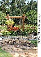 美しい, トロピカル, 庭, リラックス