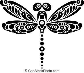 美しい, トンボ, 蝶, パターン, 形。, イラスト, 黒, 芸術的, 白, tattoo.
