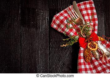 美しい, ナプキン, cutlery, クリスマス
