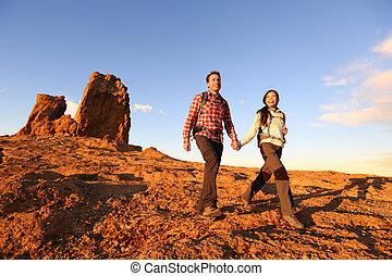 美しい, ハイカー, ハイキング, 風景