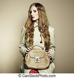 美しい, ハンドバッグ, 女, 若い, 肖像画