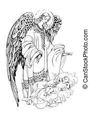 美しい, バックグラウンド。, 白, 翼, 天使