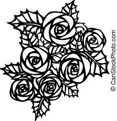 美しい, バラ, 花