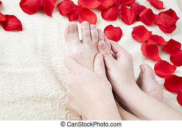 美しい, バラ, petals., 女性, フィート