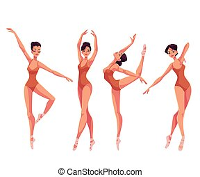 美しい, バレエ, セット, タイツ, ダンサー, 若い, スリッパ