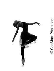 美しい, バレエ, 跡, 上に, 隔離された, 若い, ダンサー, 黒い背景, 白