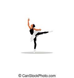 美しい, バレエ, illustration., ダンサー, 若い, ベクトル, ポーズを取る, studio.