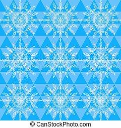 美しい, パターン, ベクトル, 雪片, seamless