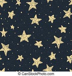 美しい, パターン, 夜空, seamless, 手, 星, textured, 引かれる