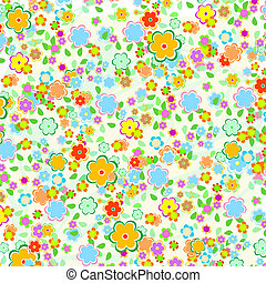 美しい, パターン, 葉, 緑の背景, 花