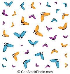 美しい, パターン, 蝶, 飛行, グループ