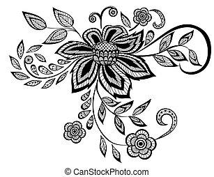 美しい, パターン, 要素, デザイン, 花, 黒, 白