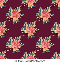 美しい, パターン, seamless, ベクトル, デザイン, 花, あなたの