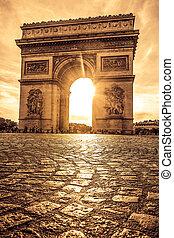 美しい, パリ, 上に, de, 弧, 日没, triomphe