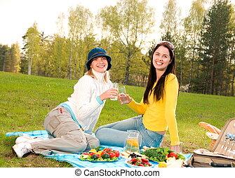 美しい, ピクニック, 2人の少女たち