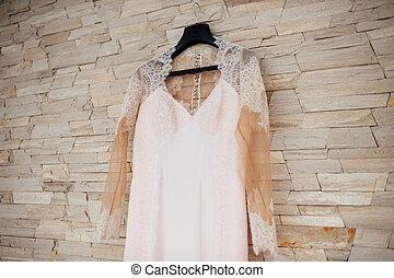 美しい, ピンクのドレス, 結婚式