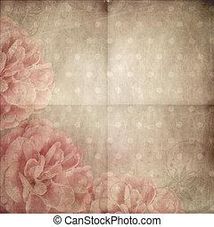 美しい, ピンクのペーパー, 背景, バラ