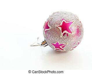 美しい, ピンクの球, 装飾, sparkly, 隔離された, 背景, 白い クリスマス