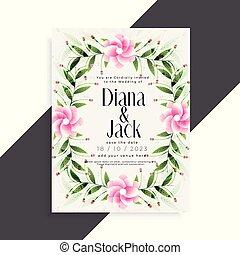 美しい, ピンクの花, 結婚式, デザイン, 招待, カード