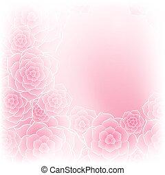 美しい, ピンクの花, 背景, バラ