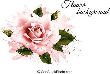 美しい, ピンクの花, vector., rose., 背景
