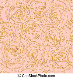 美しい, ピンク, スタイル, アウトライン, 金, 型, seamless, ばら, 背景