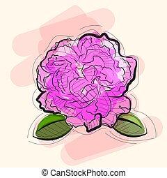 美しい, ピンク, ベクトル, 花, バラ