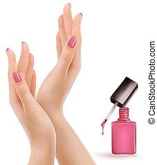美しい, ピンク, ポーランド語, vector., 釘, 女性手, bottle.