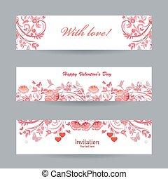 美しい, ピンク, ロマンチック, コレクション, banners., 花