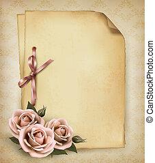 美しい, ピンク, 古い, illustration., バラ, paper., ベクトル, レトロ, 背景