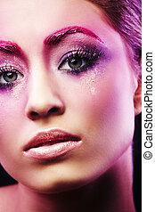 美しい, ピンク, 女の子, 構造, 肖像画