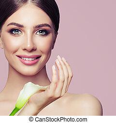 美しい, ピンク, 女, 美しさ, 構造, ファッション, portrait., 背景, 花