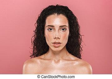 美しい, ピンク, 女, 背景, 健康, 上に, 若い, 隔離された, 見る, ポーズを取る, カメラ。, 皮膚