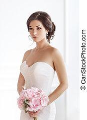 美しい, ピンク, 女, 花束, 花嫁, ブルネット, 結婚式, 白