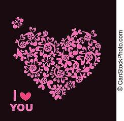 美しい, ピンク, 心, 挨拶, 紙カード