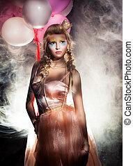 美しい, ピンク, 金, 霞, crown., 服, 王女