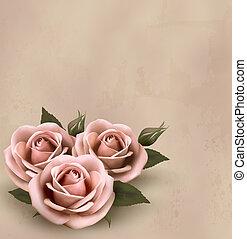 美しい, ピンク, illustration., buds., ばら, ベクトル, レトロ, 背景