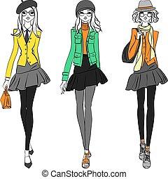 美しい, ファッションモデル, 上, 女の子, ベクトル