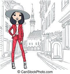 美しい, ファッション, ベクトル, 衣装, 女の子, 帽子