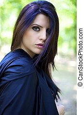 美しい, ファッション, マジック, atmoshpere, 女性, 肖像画, モデル