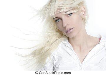 美しい, ファッション, 女の子, 上に, 長い髪, 白, ブロンド, 風